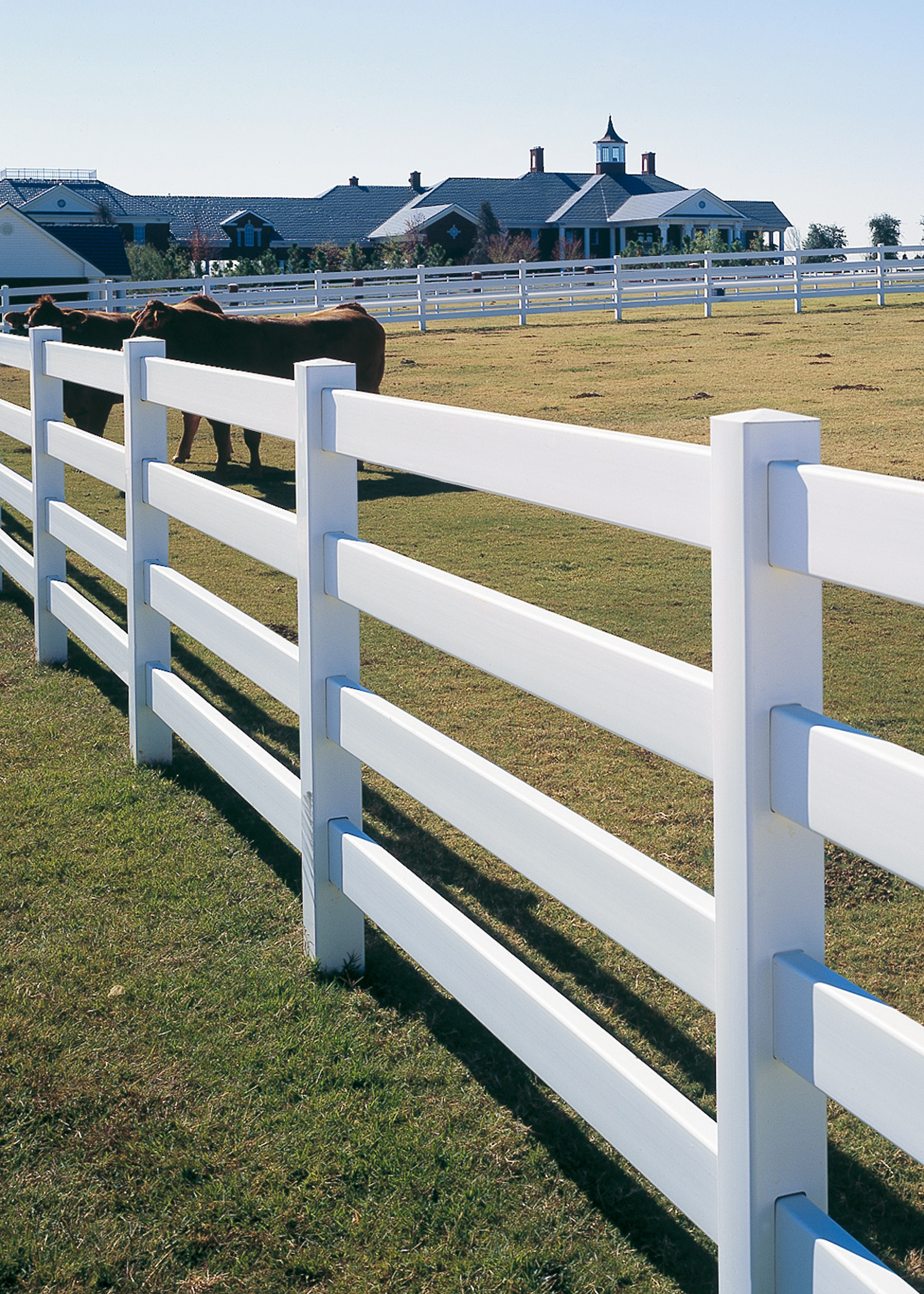Rail post and vinyl fencing maintenance free