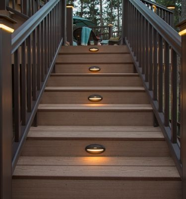 Timbertech azek deck rail lighting riser light