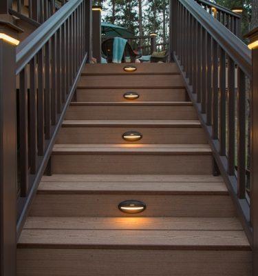 timbertech azek deck rail lighting under rail light
