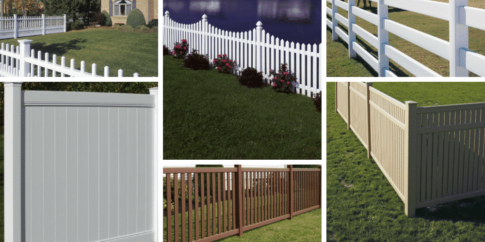 The six different styles of bufftech fence that Maintenance Free Outdoor Solutions carries
