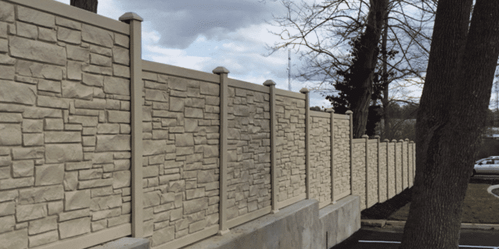 Most commercial fence companies don't use simulated stone fencing, however, Maintenance-Free Outdoor Solutions does