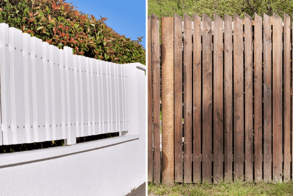 a side by side comparison of a plastic fence and a wood fence