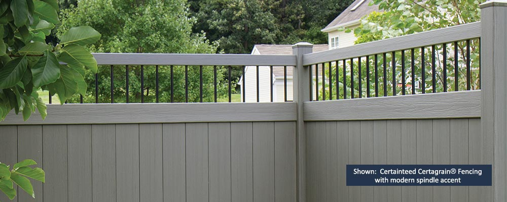 Certainteed Certagrain® Fencing with modern spindle accent